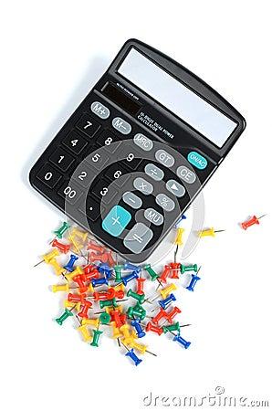 Calculator and push pin