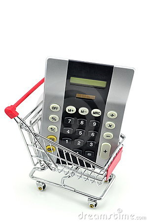 A calculator in a shopping trolley cart.