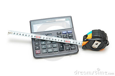 Calculator and tape measure is