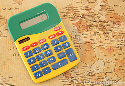 Calculator with vintage looking map of Europe