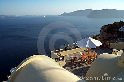Caldera terrace - Santorini Stock Photo