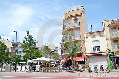 Calella, Costa-Brava beach. Editorial Stock Photo