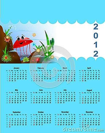 Calendário 2012 para crianças