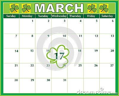 Calendário do dia do St. Patricks