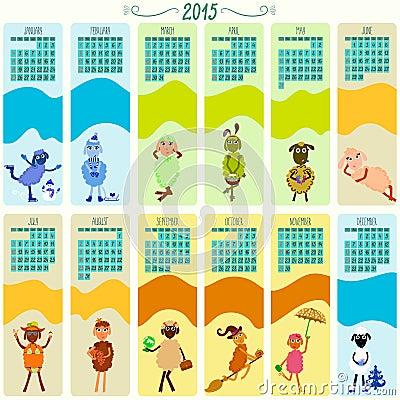Calendário Para 2015 Com Desenhos Animados E Os Carneiros Engraçados ...