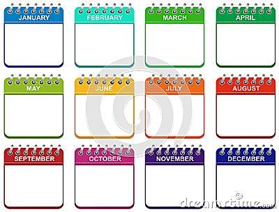 Month calendar icons set illustration EPS Stock Photo