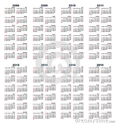 Free Calendar 2008-2015 Royalty Free Stock Photography - 5723267
