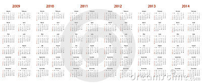 Calendar for 2009, 2010, 2011, 2012, 2013 and 2014