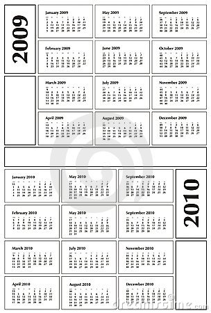 Free Calendar 2009 And 2010 Stock Image - 7334671