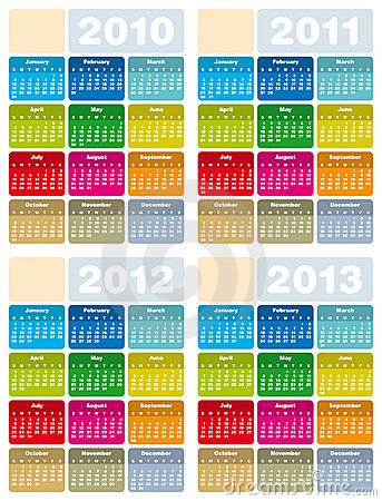 Calendar For 2010, 2011, 2012 And 2013 Royalty Free Stock Images - Image: 10207089