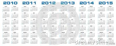 Calendar for 2010 through 2015