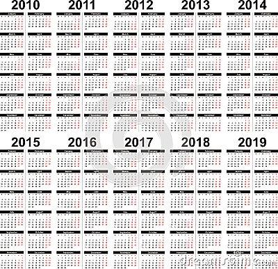 Calendar 2010 2019 Stock Photos Image 11082093