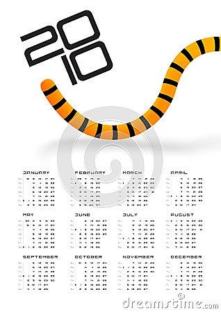 Calendar 2010 Tiger tail