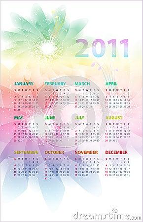 Calendar of 2011.