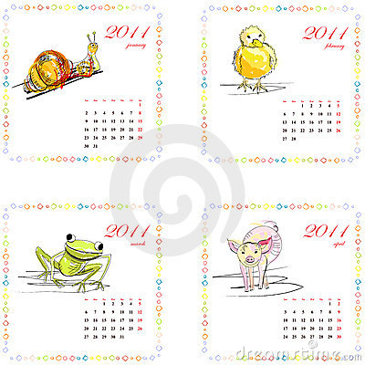 Calendar for 2011 with animals.
