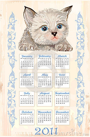 Calendar 2011 with fluffy kitten
