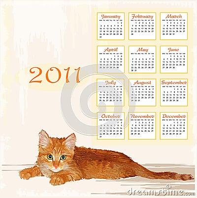 calendar 2011 with lying ginger kitten