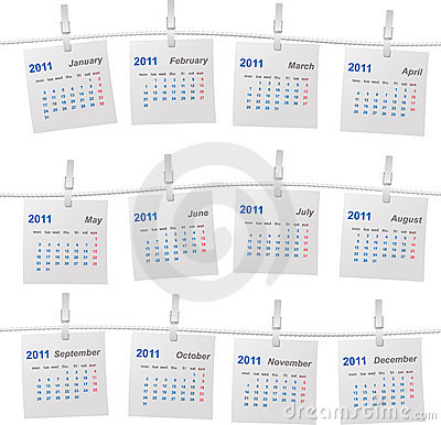 Calendar 2011 On A Rope Royalty Free Stock Photos - Image: 17385058