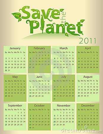 Calendar for 2011 - Save the Planet