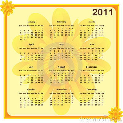 Calendar 2011 full year january through to december months with a