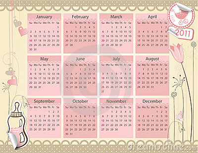 Calendar for 2011 year - Baby girl theme
