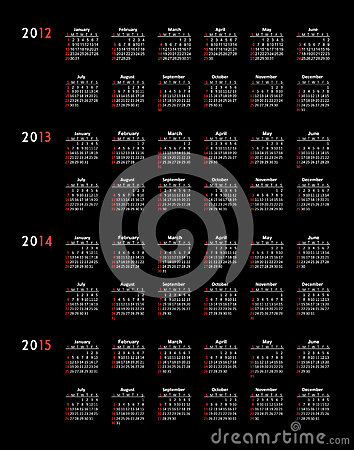 Calendar 2012 2013 2014 2015