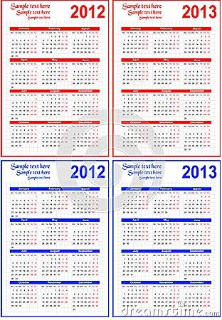 Calendar 2012, 2013