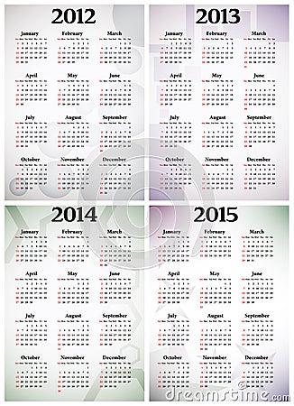 Calendar 2012 - 2015