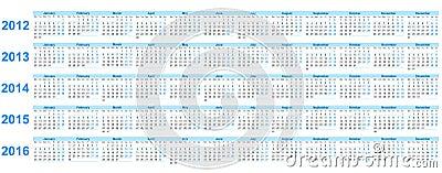 Calendar 2012 -2016