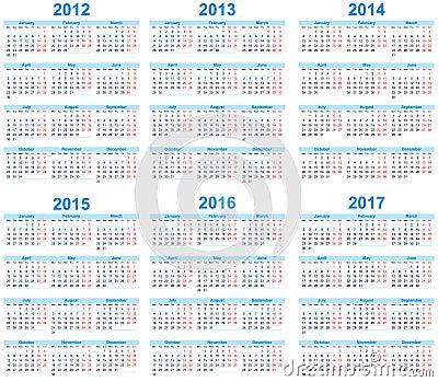 Calendar 2012 -2017