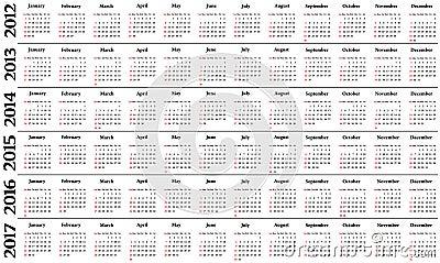 Calendar 2012 - 2017