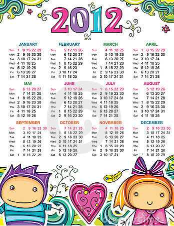 Calendar for 2012 with  children