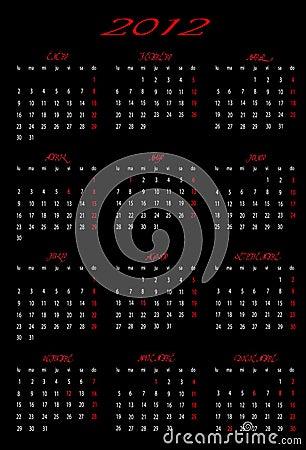 Calendar 2012 with design