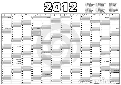Calendar 2012 with german holidays (vector)
