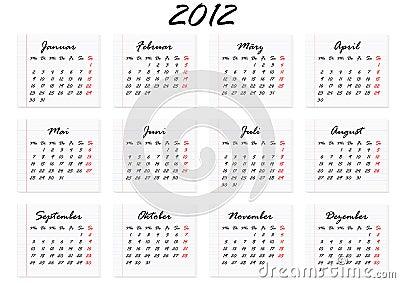 Calendar for 2012 in German (vector)