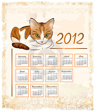 calendar 2012  with ginger tabby cat