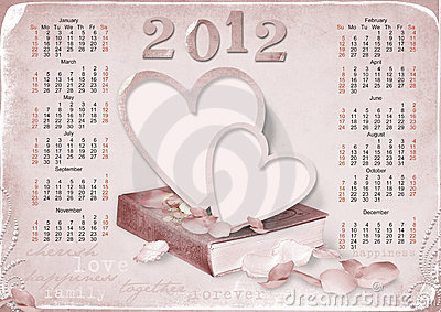 Calendar 2012 for love. week starts with sunday