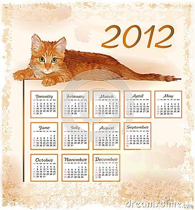 calendar 2012 with lying ginger kitten