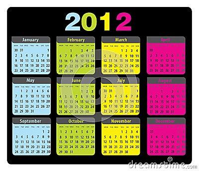 Calendar 2012 monday-sunday