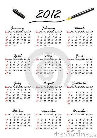 Calendar for 2012 (vector)