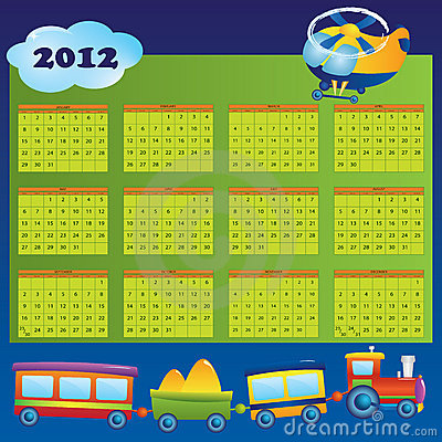 Calendar 2012 year for children