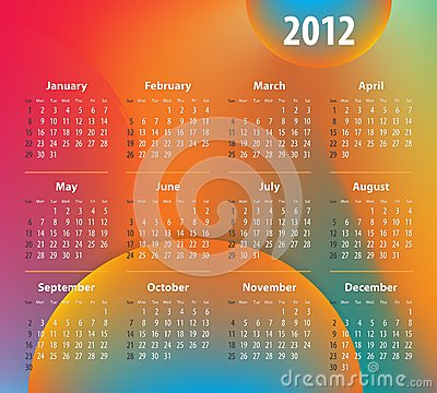 Calendar for 2012 year on colorful background