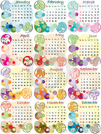 Calendar 2012 With Zodiac Signs Royalty Free Stock Image - Image ...