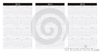 Calendar 2013, 2014, 2015