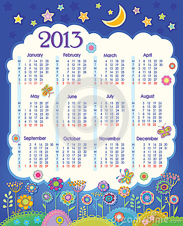 Calendar for 2013. Cloud in the night sky. Childre