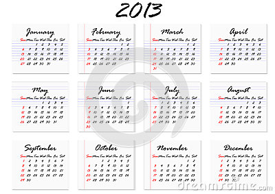 Calendar 2013 in English (vector)