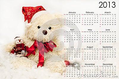 Calendar for 2013 with a festive teddy bear