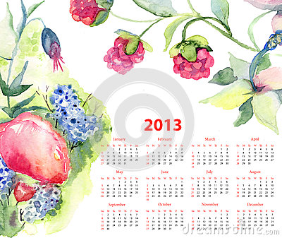 Calendar for 2013 with flowers and berries
