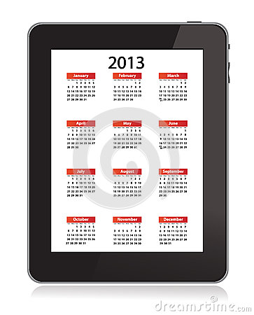 Calendar for 2013 in IPad 3 on white screen Editorial Image