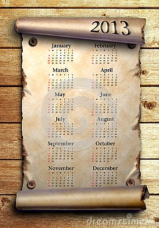 Calendar 2013 Scroll of old paper on wooden boards
